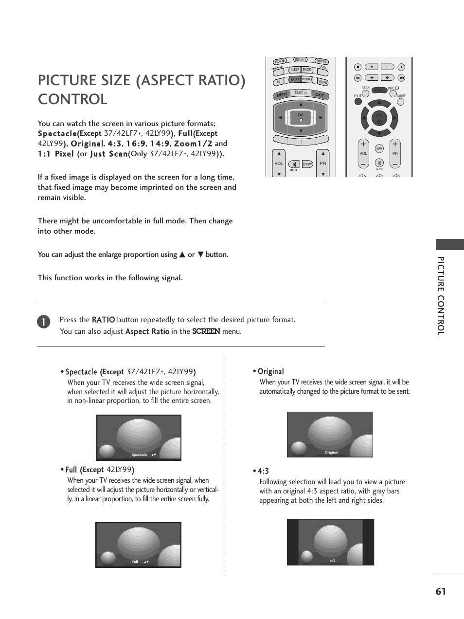Picture size (aspect ratio)control, Picture size (aspect