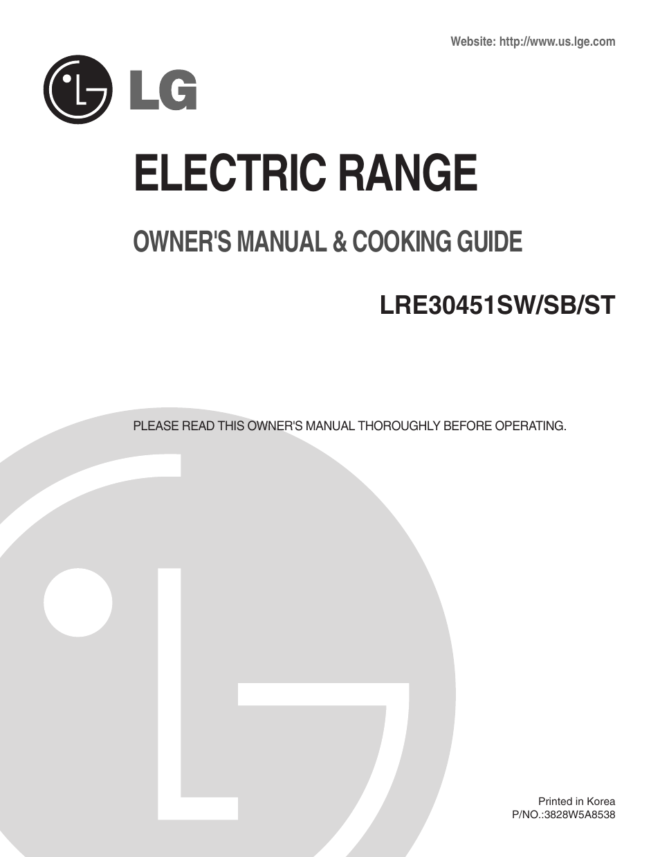 LG LRE30451ST User Manual | 34 pages