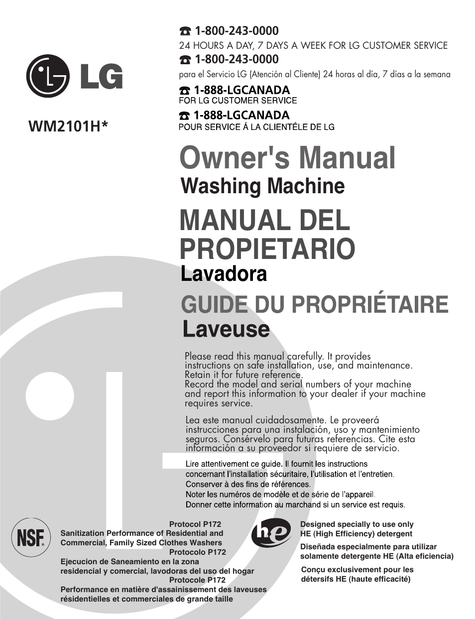 LG WM2101HW User Manual   72 pages