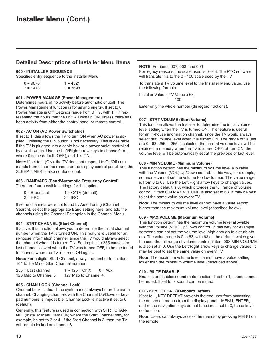 Installer menu (cont ), Detailed descriptions of installer menu