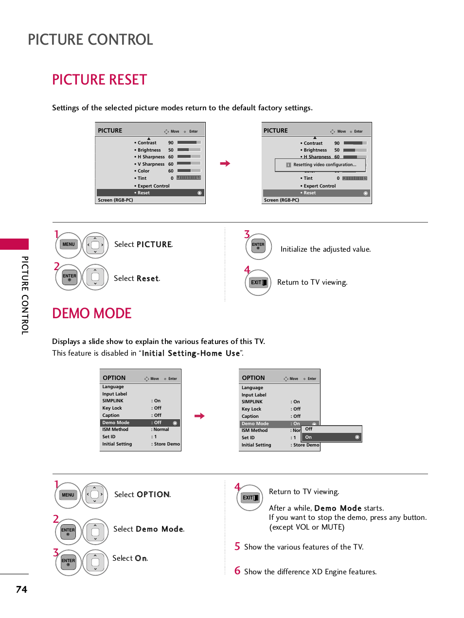 Picture reset, Demo mode, Picture control | LG 50PJ350 User