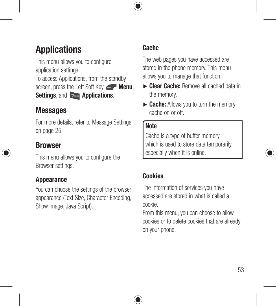 Applications, Messages, Browser | LG LG440G User Manual | Page 55 / 122