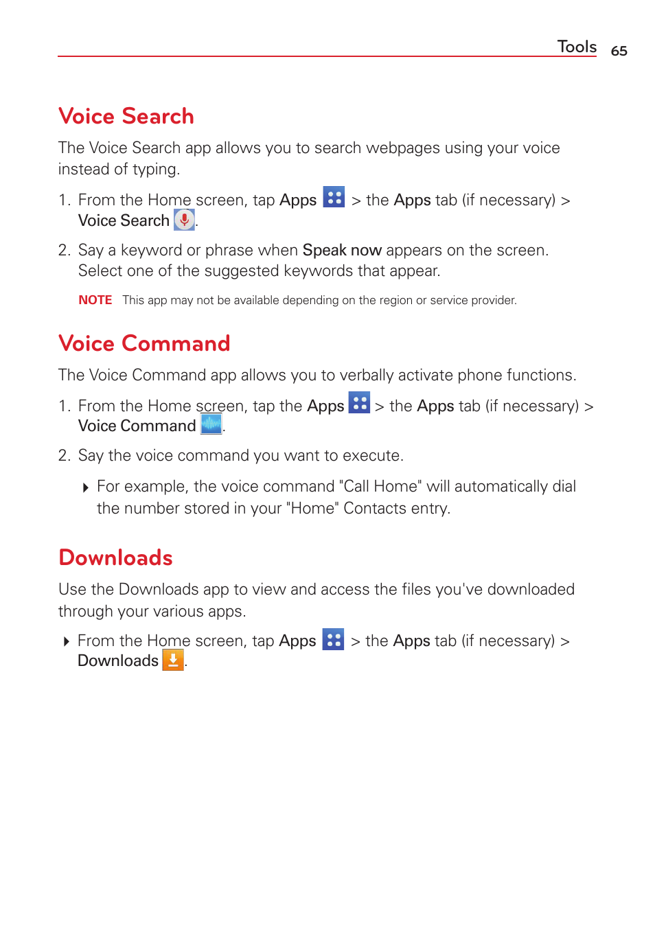 Voice search, Voice command, Downloads   LG VS415PP User