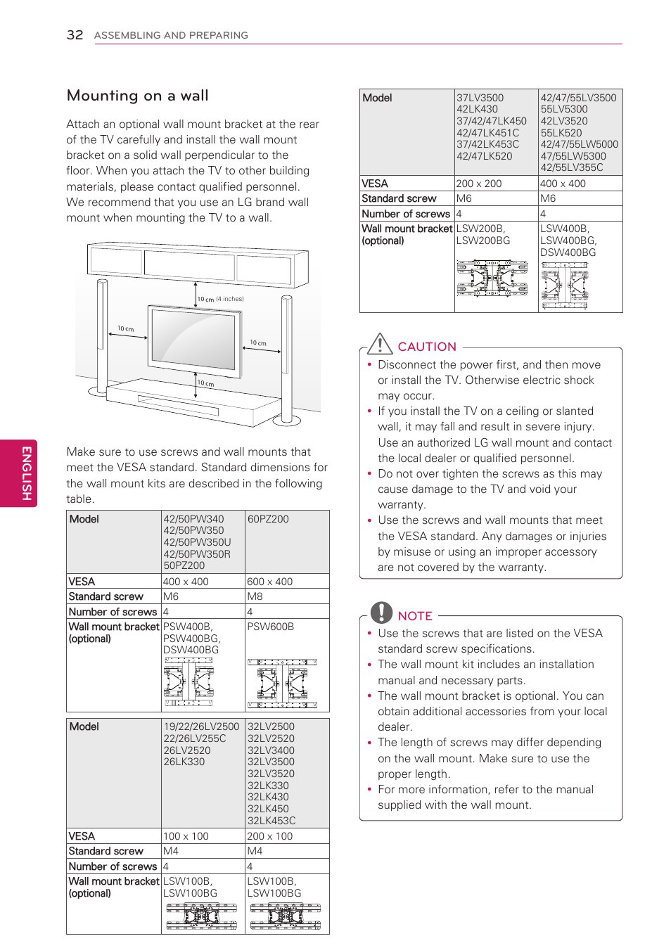 Mounting on a wall | LG 32LV3500 User Manual | Page 32 / 128