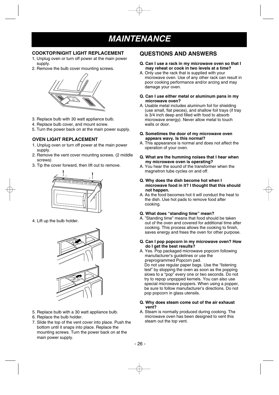 Maintenance, Questions and answers | LG LMV1680ST User Manual | Page 26 / 32