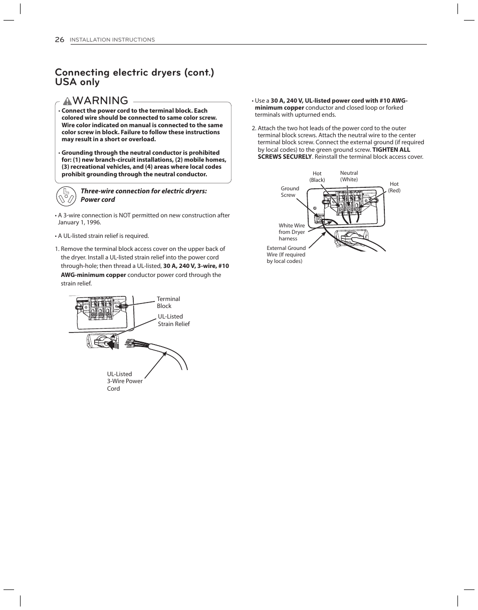 Warning Connecting Electric Dryers Cont Usa Only Lg Dlg3051w Wire Color Code Hot Neutral User Manual Page 26 84