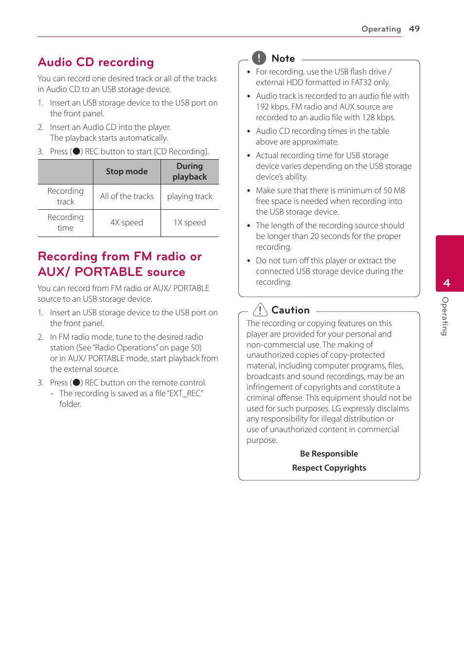 audio cd recording recording from fm radio or aux portable source rh manualsdir com LG Extravert Manual LG Cell Phone Manuals