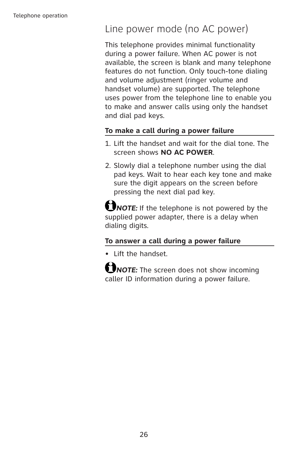 Line power mode (no ac power) | AT&T CL4939 User Manual | Page 32 / 77