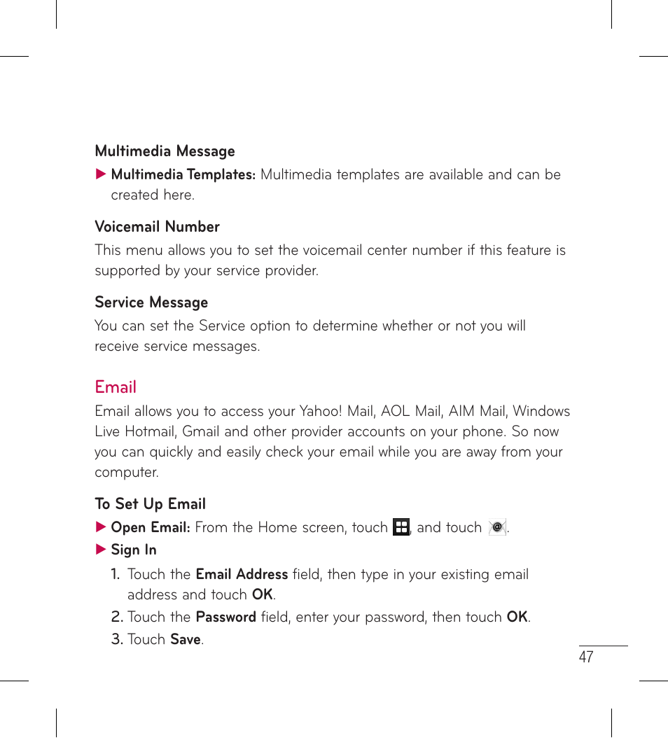 Email   LG LG306G User Manual   Page 49 / 186