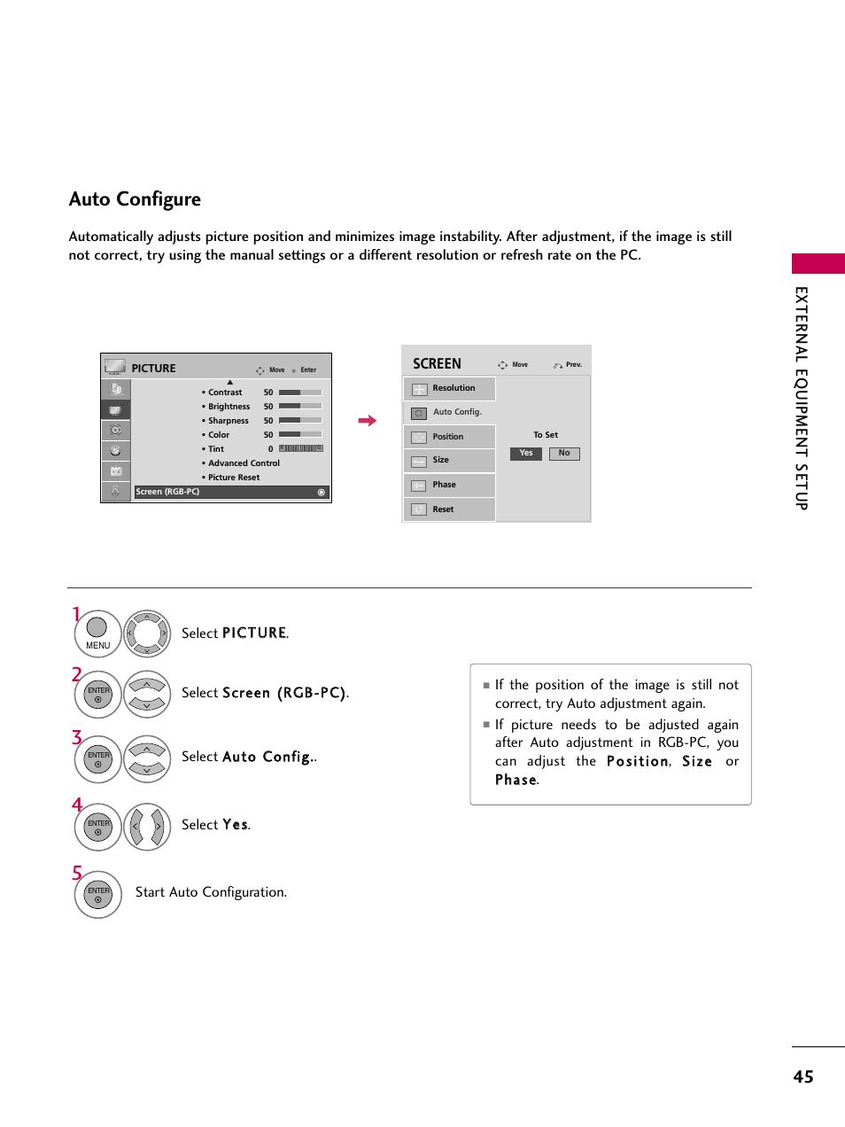 auto configure external eq uipment setup lg 47lh30 user manual rh manualsdir com LG 47LH30 Replacement Screen Panel lg tv 47lh30 manual
