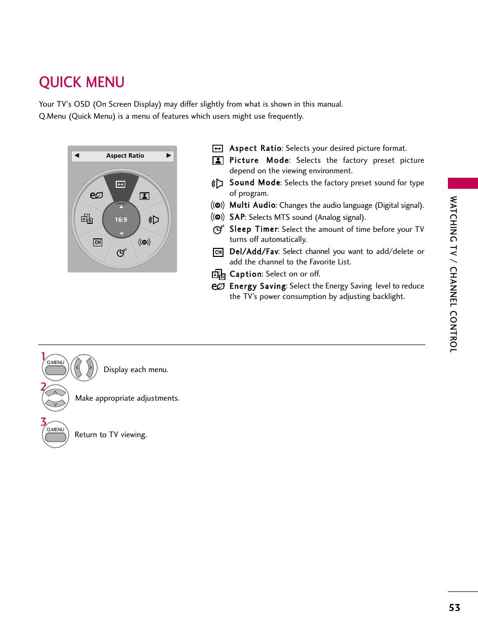 quick menu lg 47lh30 user manual page 53 136 original mode rh manualsdir com 47LH30 Specs 47LH30 Power Supply