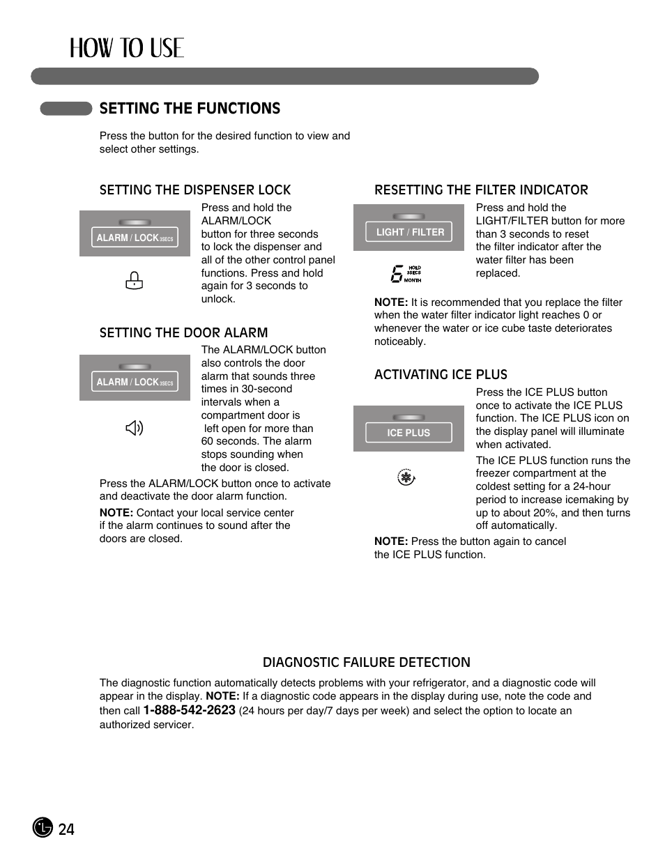 24 setting the functions | LG LFX21971ST User Manual | Page