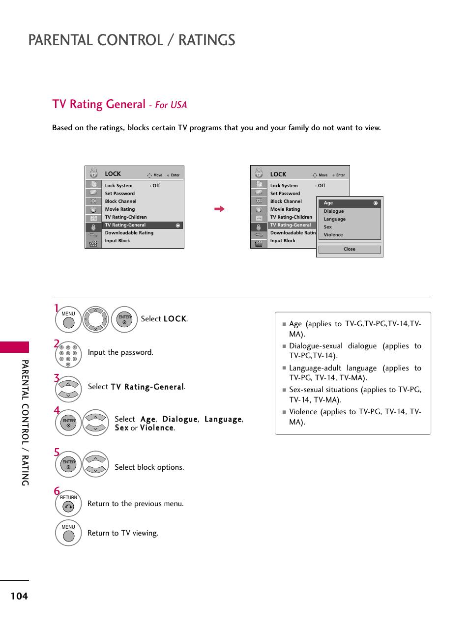 parental control ratings tv rating general for usa lg 47lh90 rh manualsdir com LG Manuals PDF LG Cell Phone Manuals