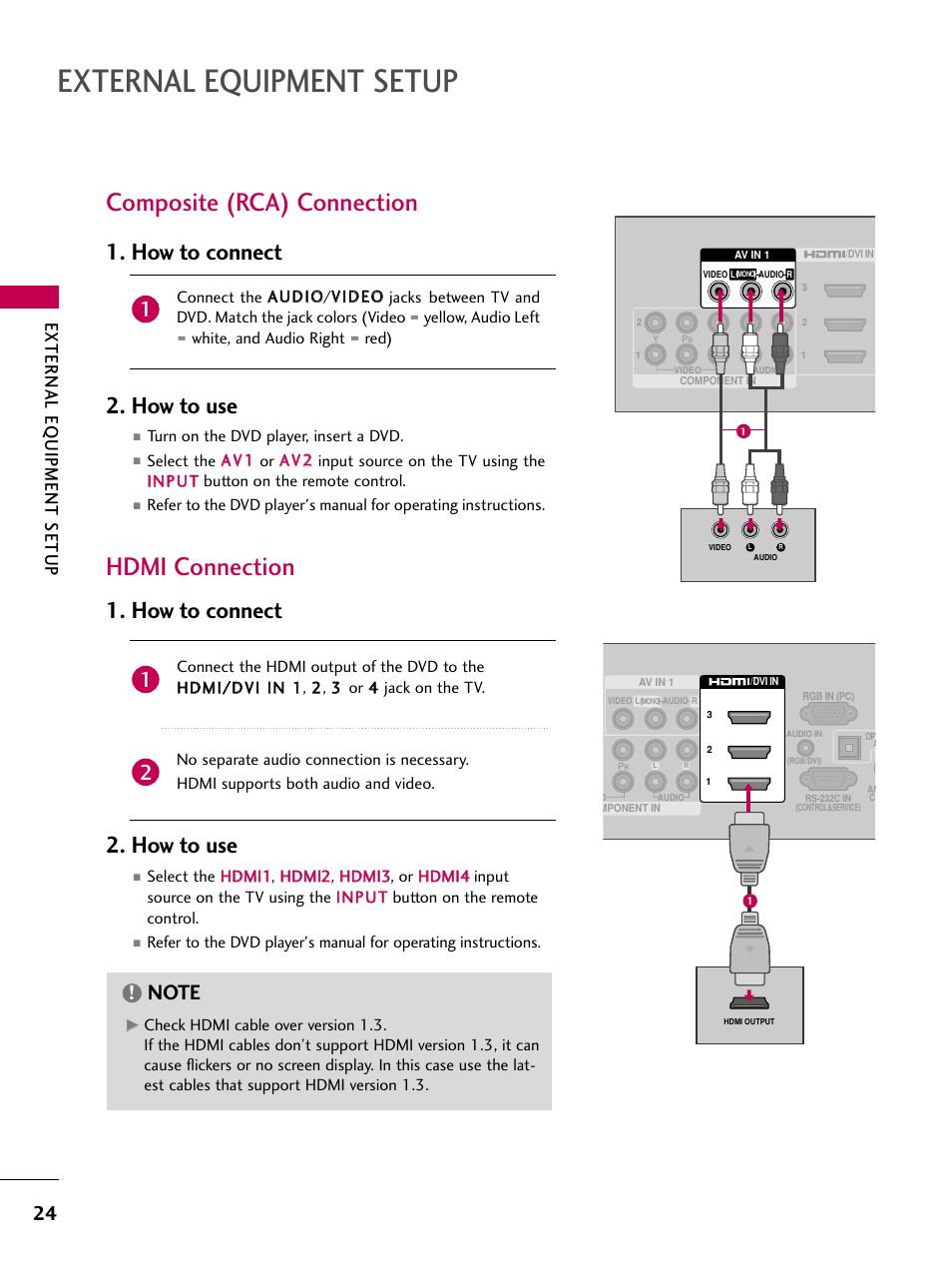 external equipment setup composite rca connection hdmi rh manualsdir com LG Cell Phone Manuals LG Manuals PDF