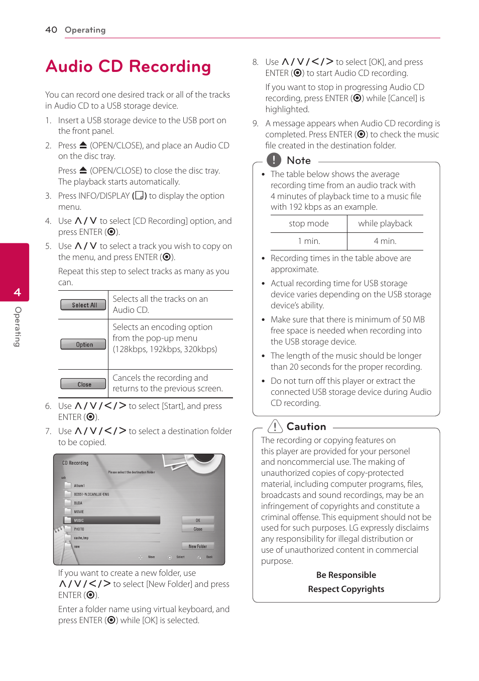 audio cd recording lg bd645 user manual page 40 56 original mode rh manualsdir com LG Cell Phone Manuals LG Cell Phone Manuals
