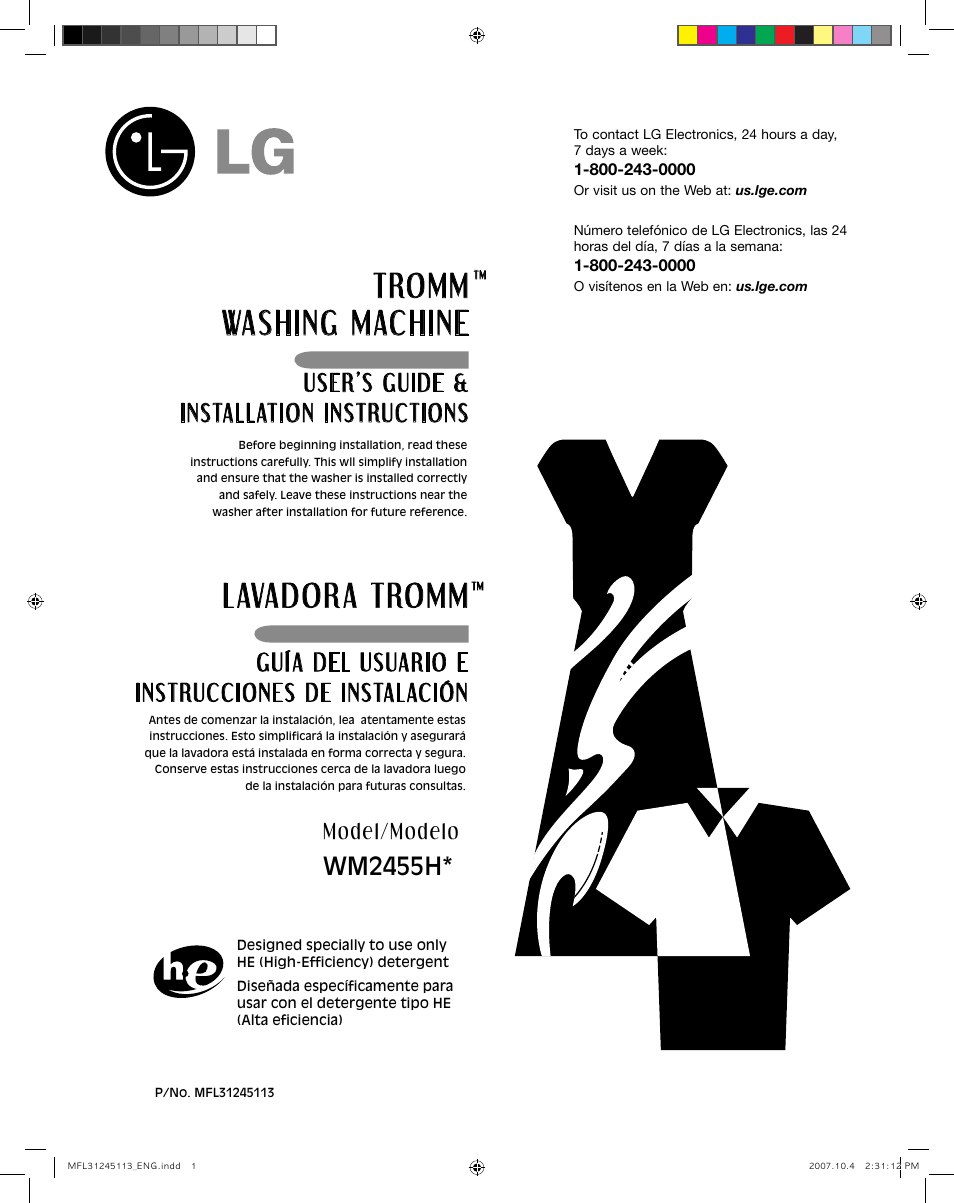 LG wm2455hw User Manual | 41 pages