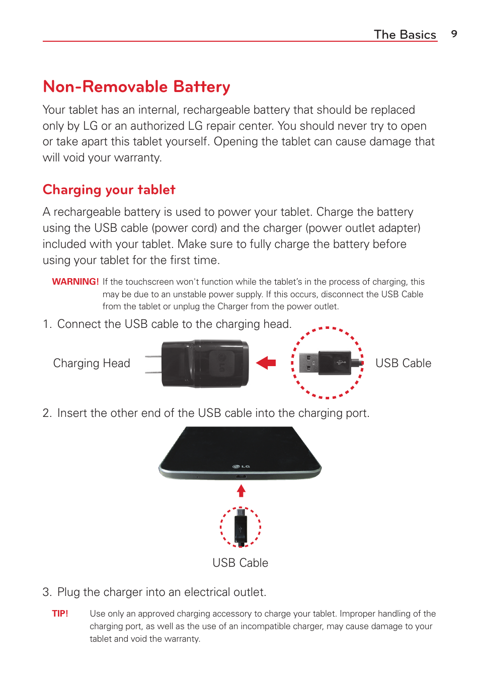 Non-removable battery, Charging your tablet, The basics | LG