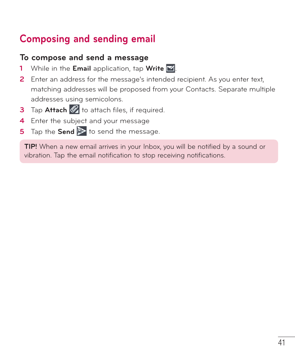 Composing and sending email | LG D415 User Manual | Page 43 / 122