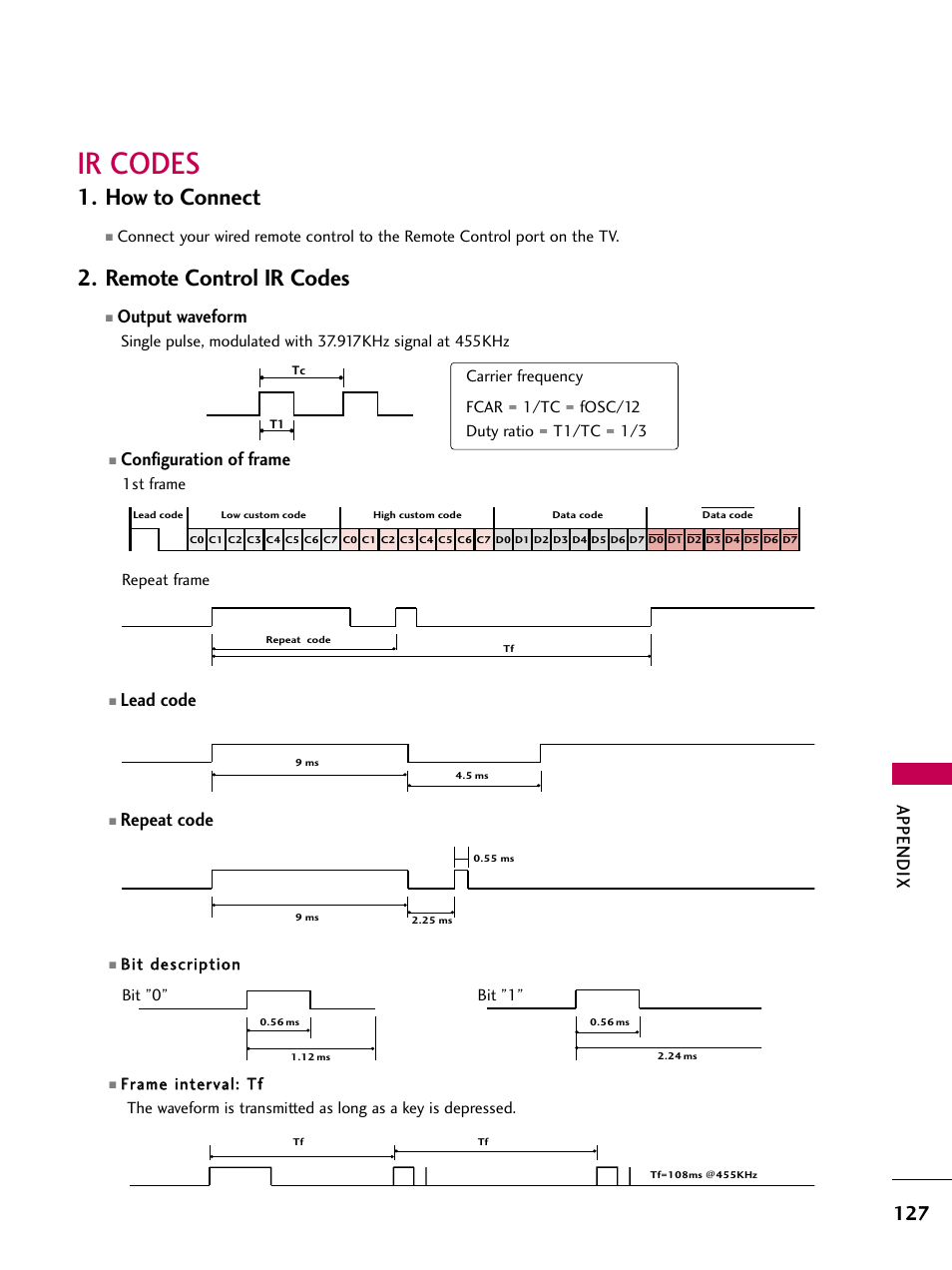 Ir codes, How to connect, Remote control ir codes | LG