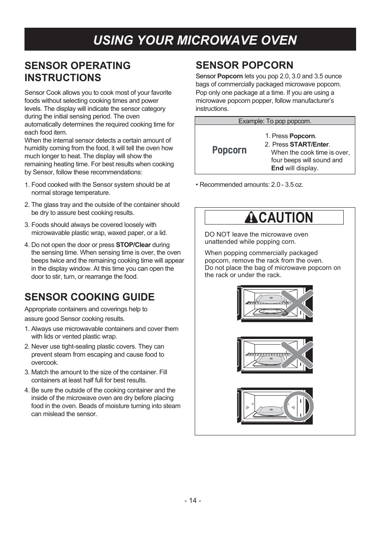 ... Array - caution using your microwave oven sensor popcorn lg lmv1831st  rh manualsdir com