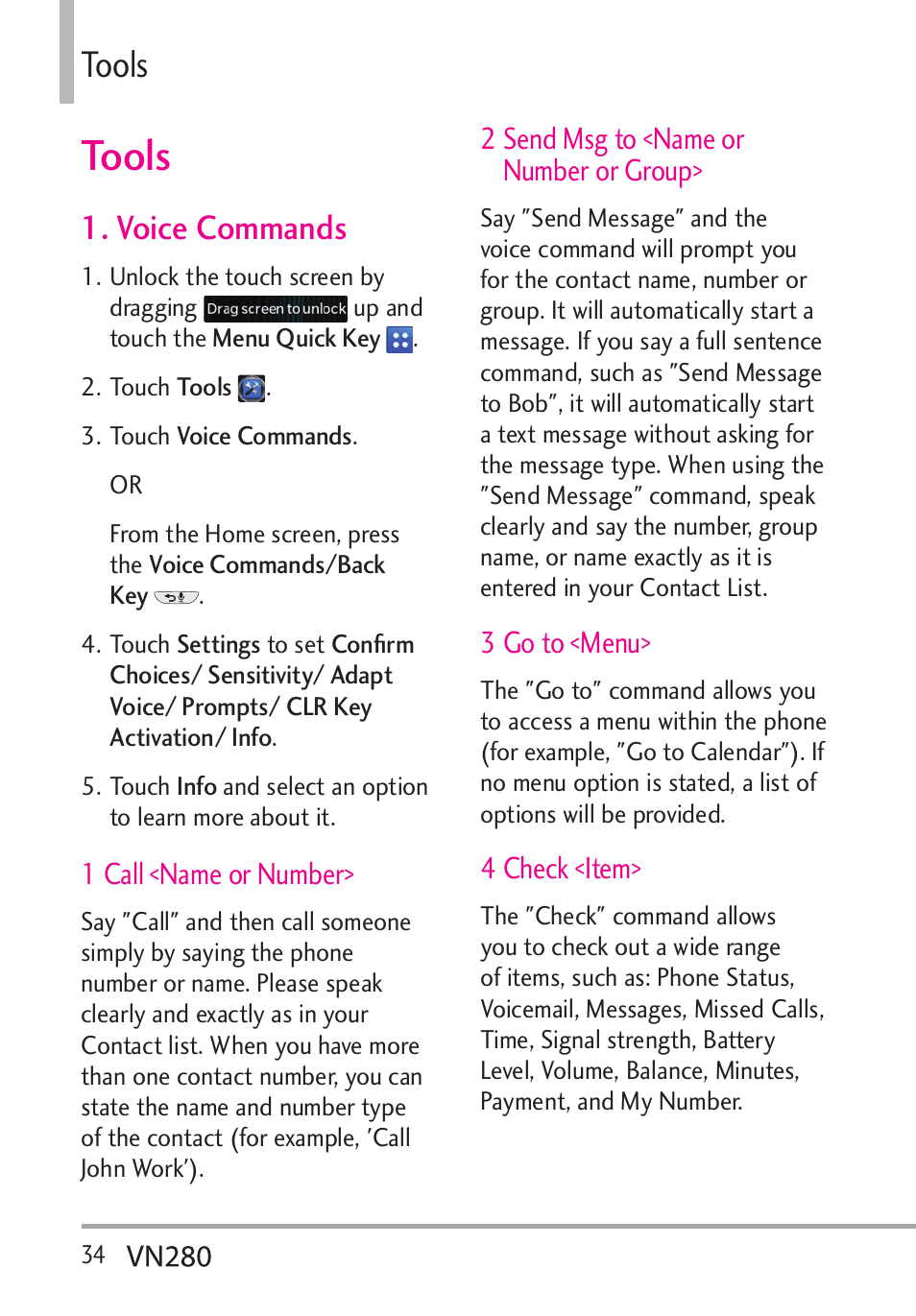 Tools, Voice commands   LG VN280 User Manual   Page 36 / 126