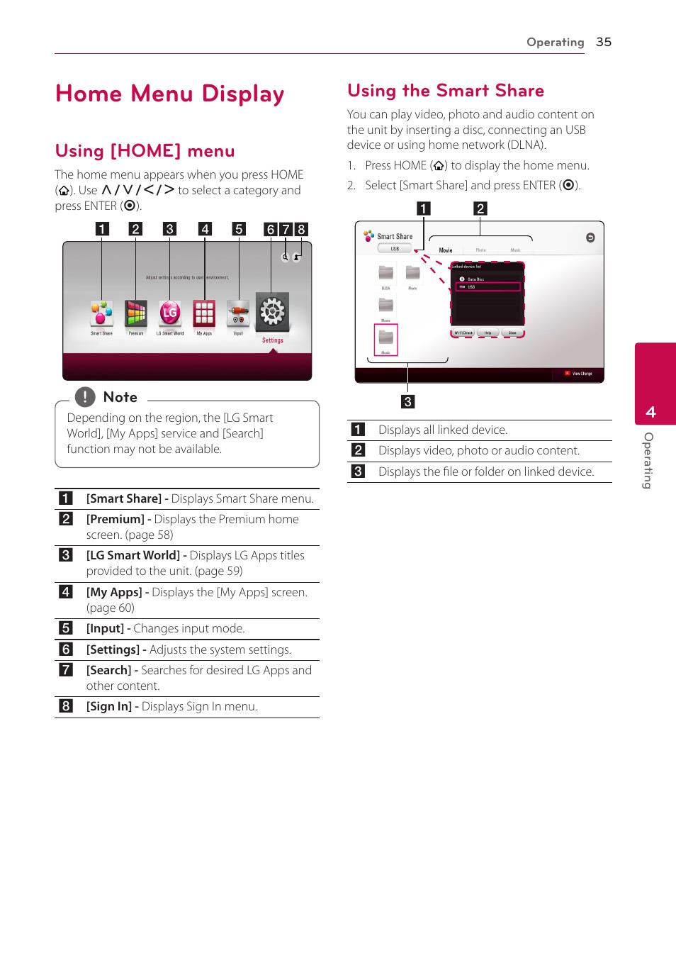 Home menu display, Using [home] menu, Using the smart share