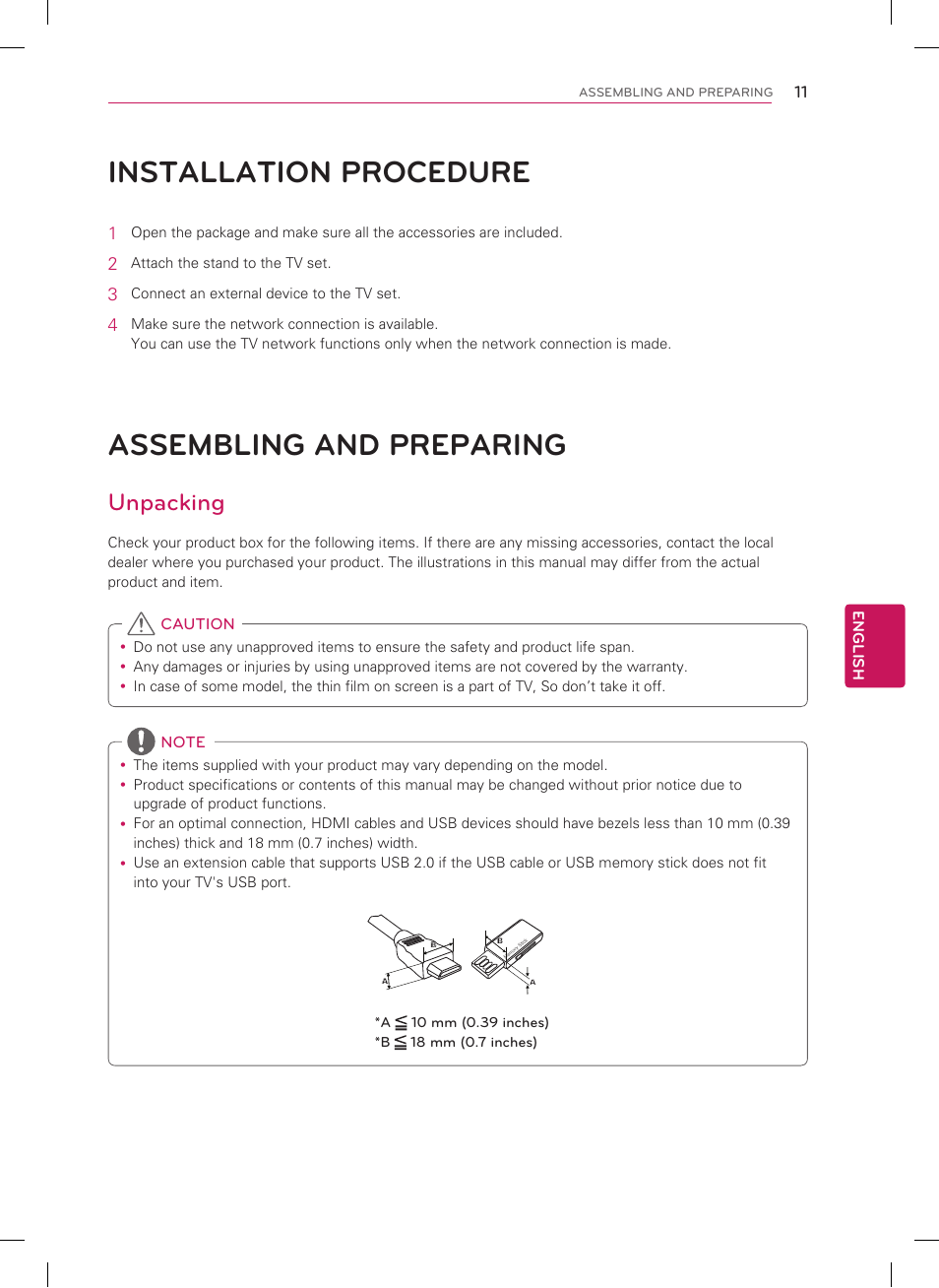 Installation procedure, Assembling and preparing, Unpacking | LG