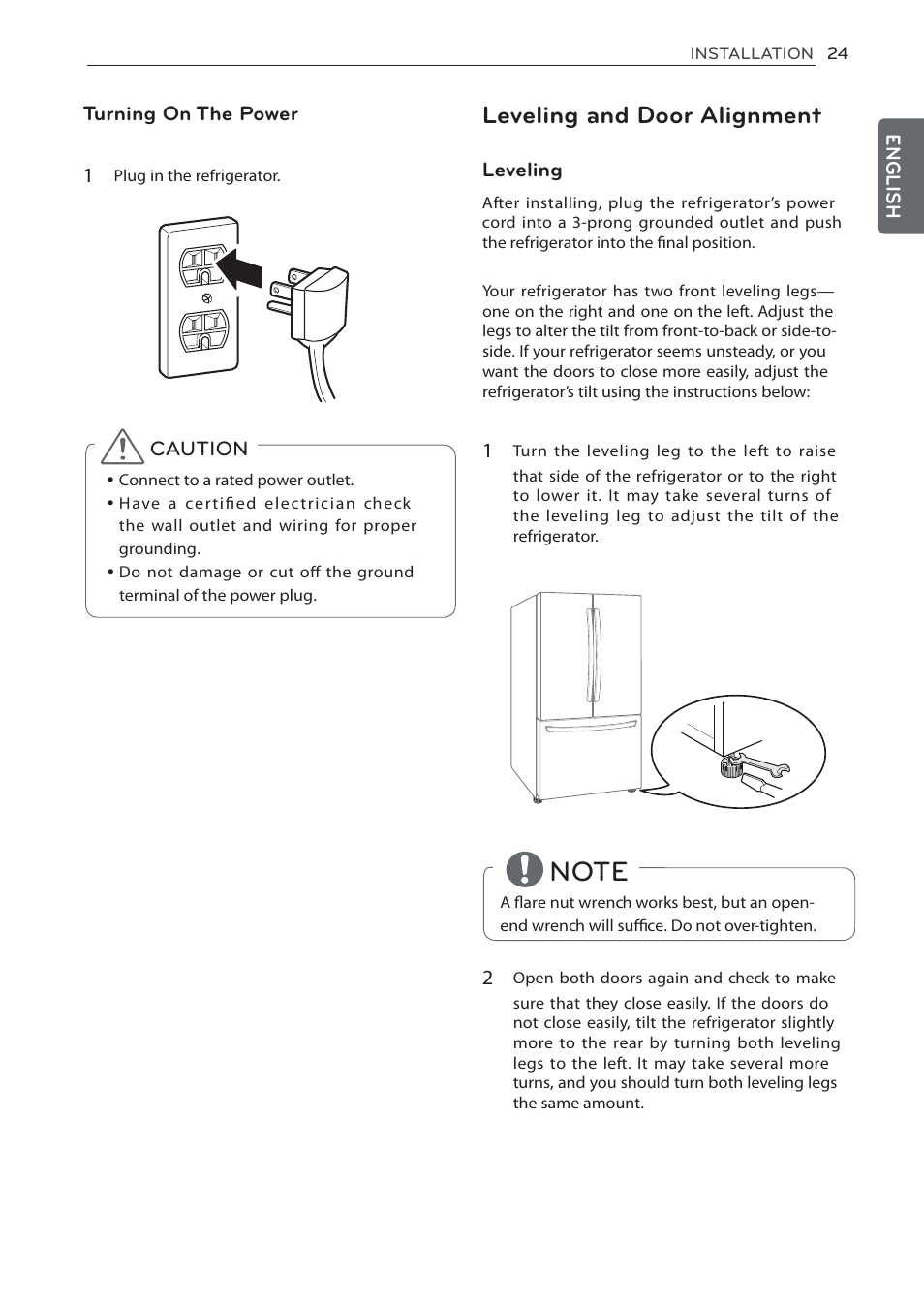 Leveling And Door Alignment Lg Lfc24770st User Manual Page 24 46 Power Cord Wiring Together With Side By Refrigerator Diagram
