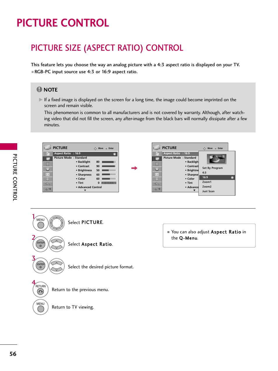 Picture control, Picture size (aspect ratio) control
