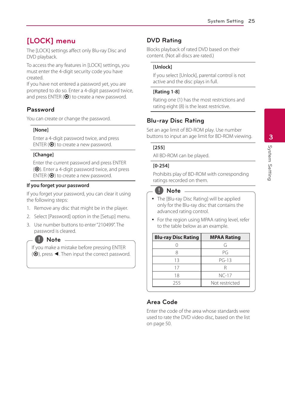 Lock] menu, 25 – [lock] menu | LG BP335W User Manual | Page 25 / 57