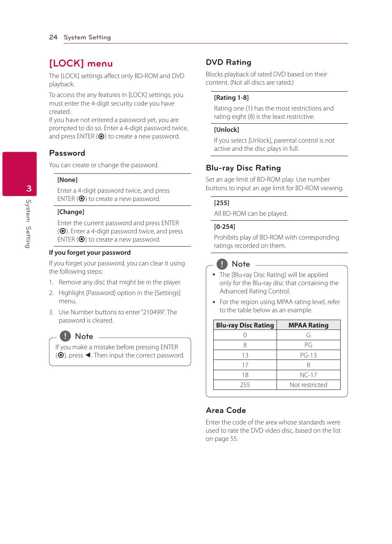 Lock] menu, 24 – [lock] menu | LG BPM34 User Manual | Page 24 / 62