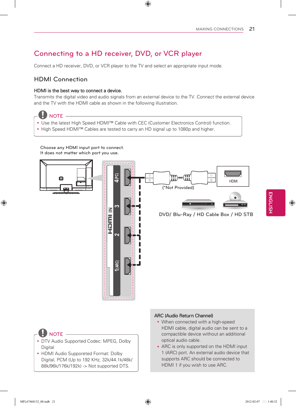 Connecting to a hd receiver, dvd, or vcr player, Hdmi connection | LG  47LM6200 User Manual | Page 21 / 44