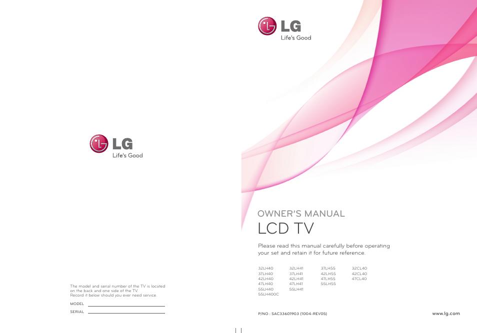 lg 42lh40 manual