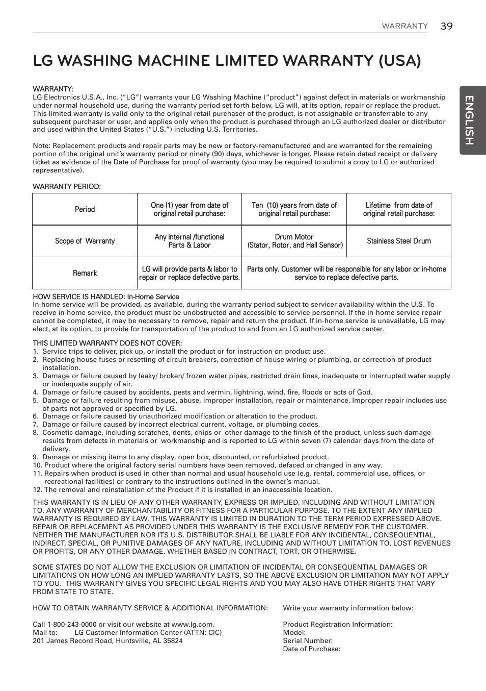 Lg washing machine limited warranty (usa), English | LG WM3997HWA User  Manual |