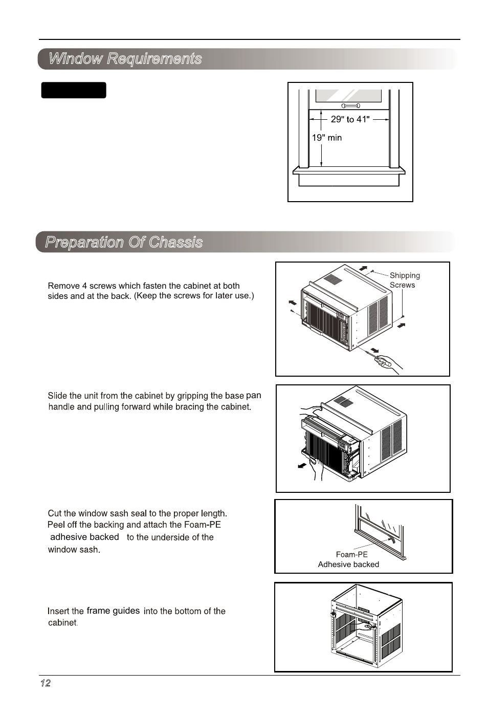 Preparation Of Chassis Window Requirements Notice Lg Lw2513er Room Air Conditioner Wiring Diagram User Manual Page 12 48