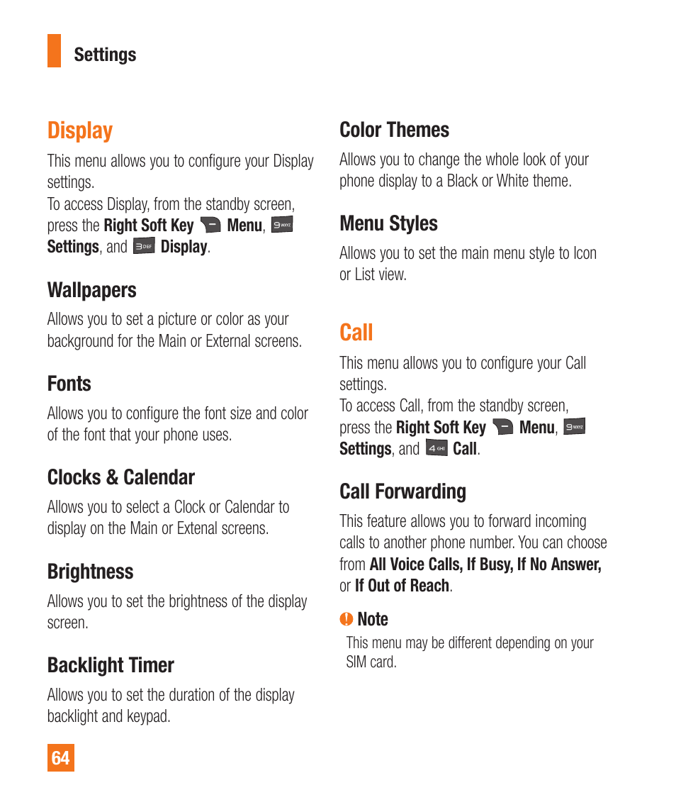 Call, Call forwarding, Display   LG A380 User Manual   Page