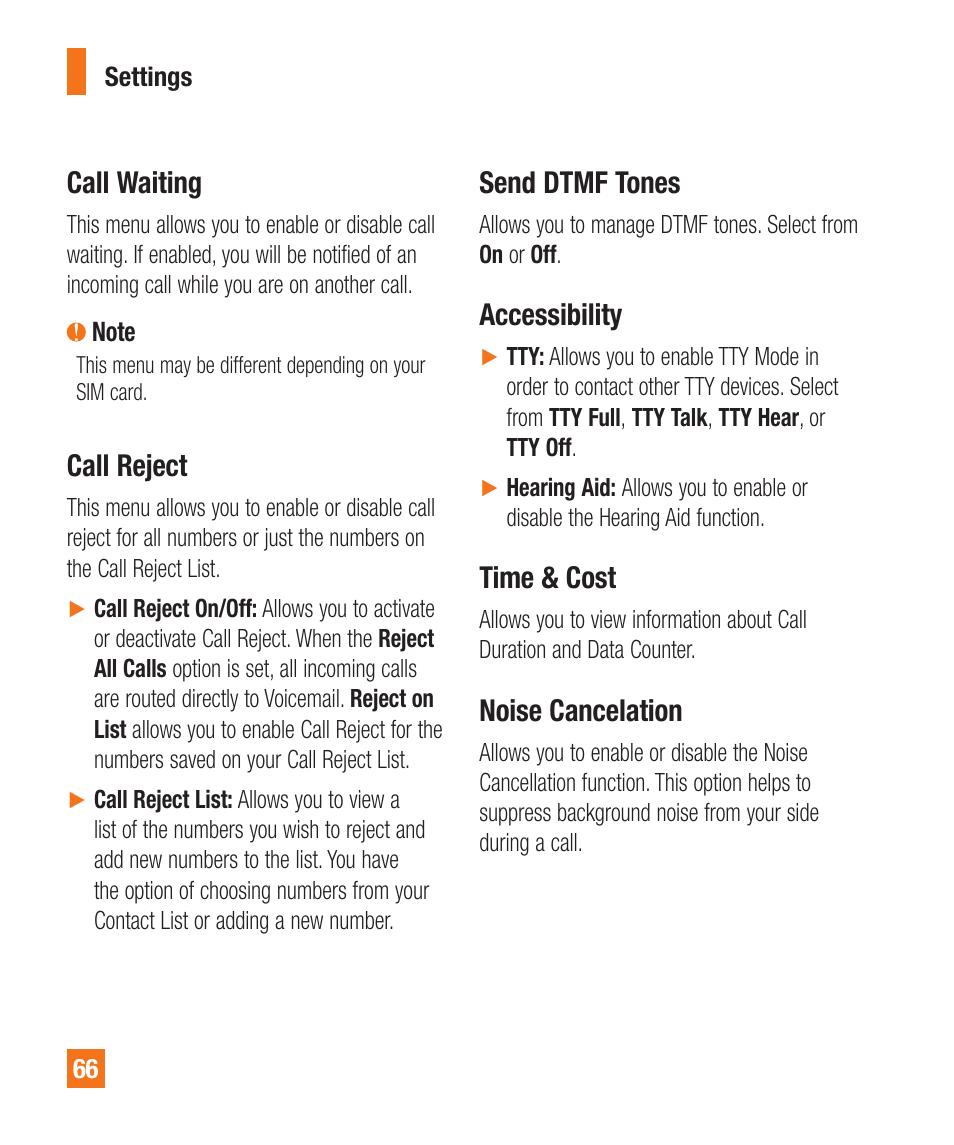 Call waiting, Call reject, Send dtmf tones | LG A380 User Manual