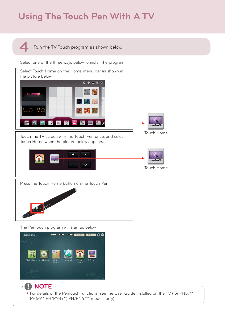 Using the touch pen with a tv, Run the tv touch program as