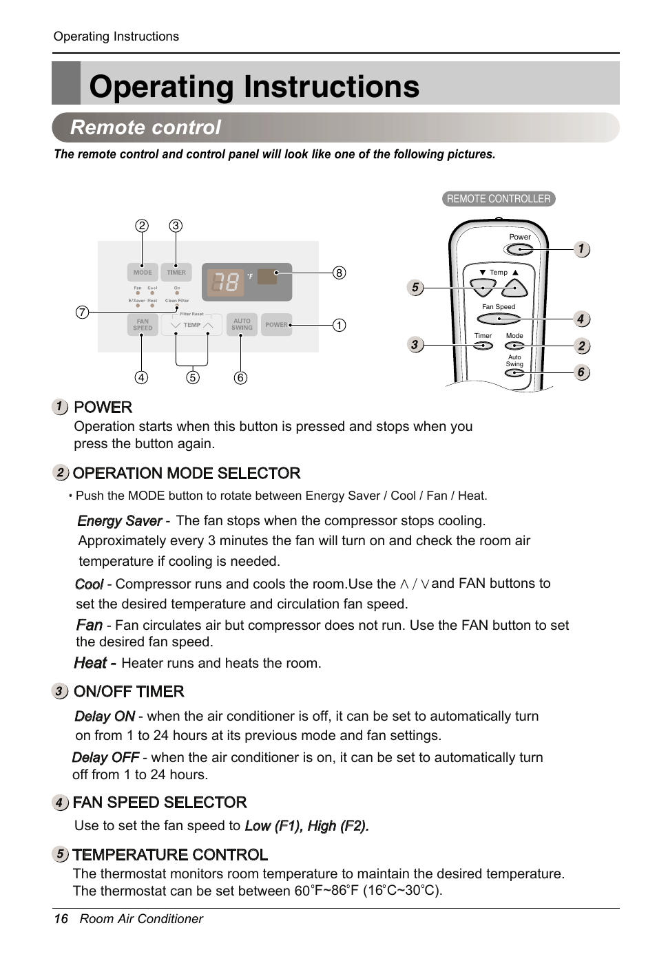 Operating instructions, Remote control, Power | LG LW2414HR