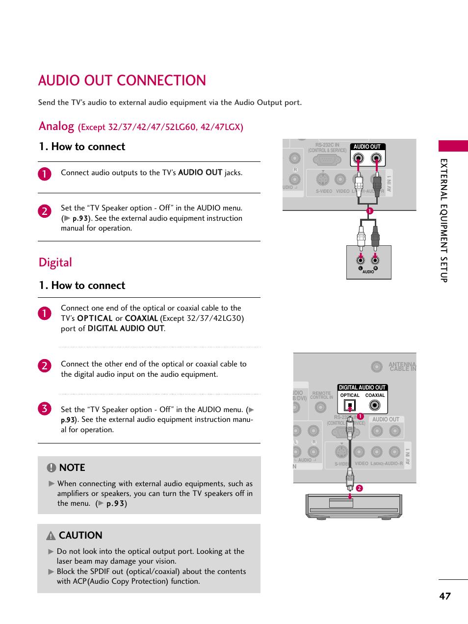 audio out connection analog digital lg 42lg30 ud user manual rh manualsdir com LG Smart TV 42LG30 Problems