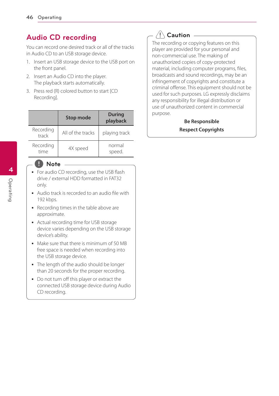 audio cd recording 46 audio cd recording lg bp530 user manual rh manualsdir com LG Owner's Manual LG Phones Manual