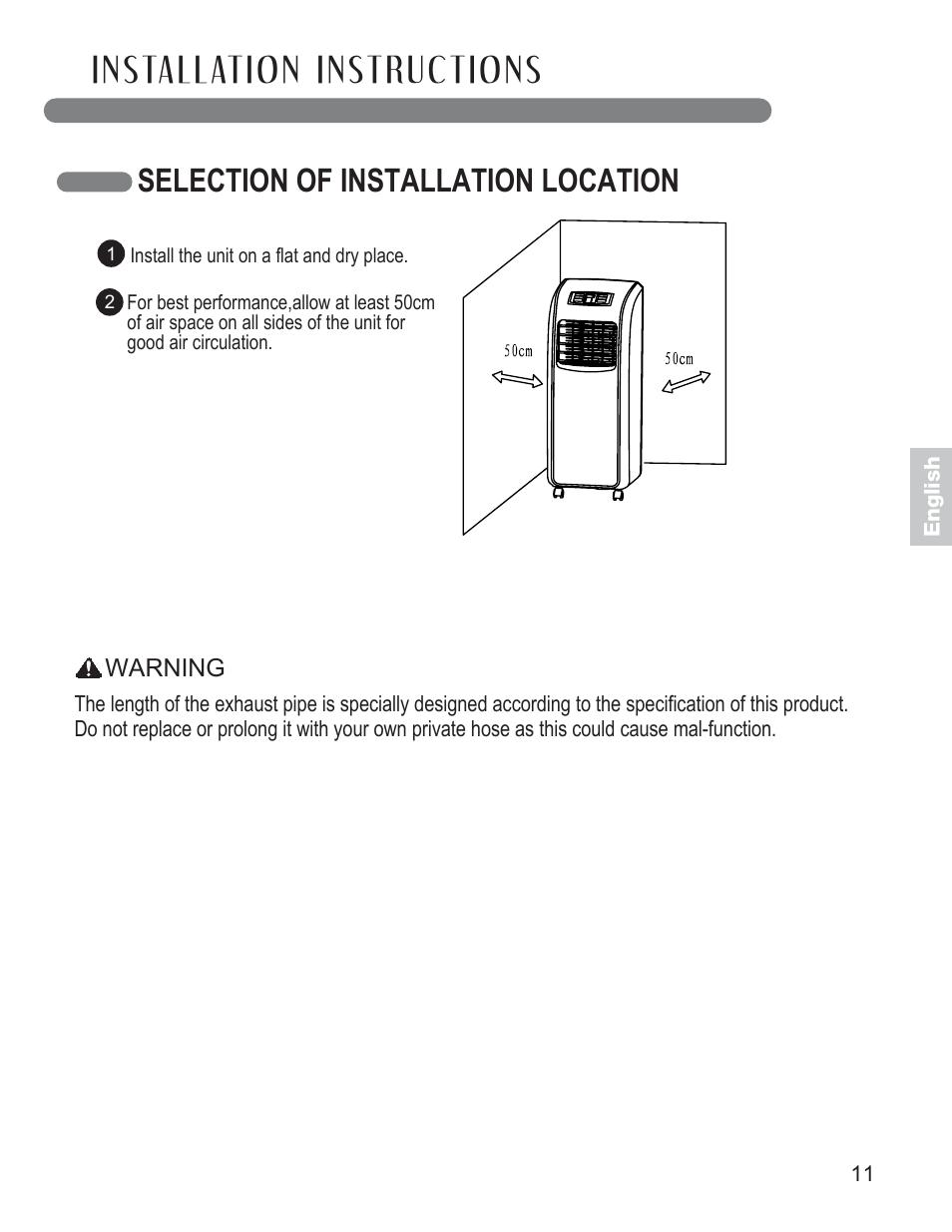 selection of installation location lg lp0711wnr user manual page rh manualsdir com lg model lp0711wnr owners manual LG Air Conditioner Remote Manual