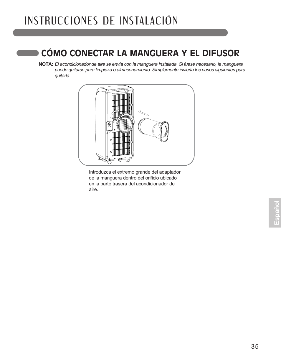 c mo conectar la manguera y el difusor lg lp0711wnr user manual rh manualsdir com User Manual User Manual
