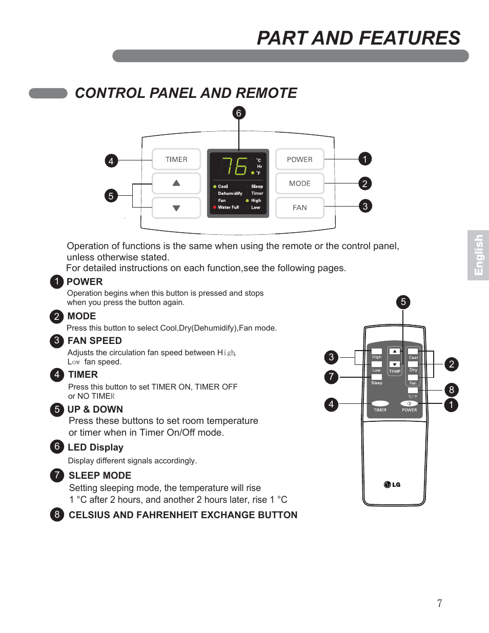 part and features control panel and remote lg lp0711wnr user rh manualsdir com LG Portable Air Conditioner lg model lp0711wnr owners manual