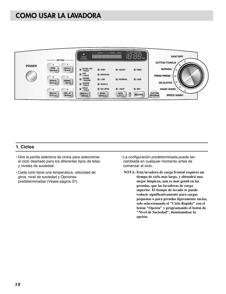 como usar la lavadora lg wm0532hw user manual page 38 48 rh manualsdir com LG WM0532HW Le Error Code LG WM0532HW Le Error Code
