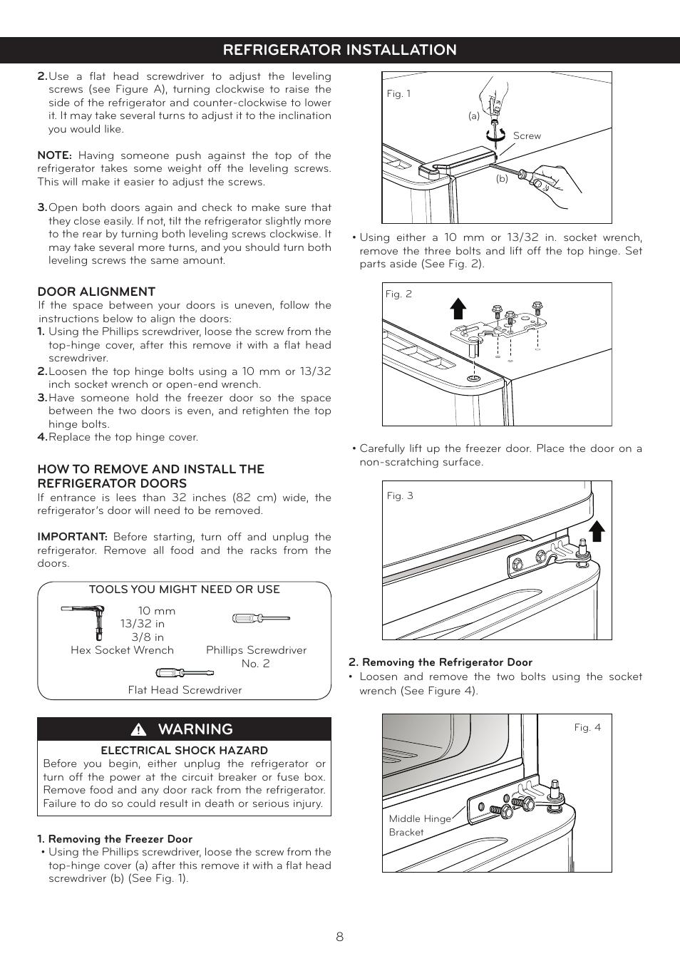 Warning, Refrigerator installation | LG LTN16385PL User Manual | Page 9 / 35