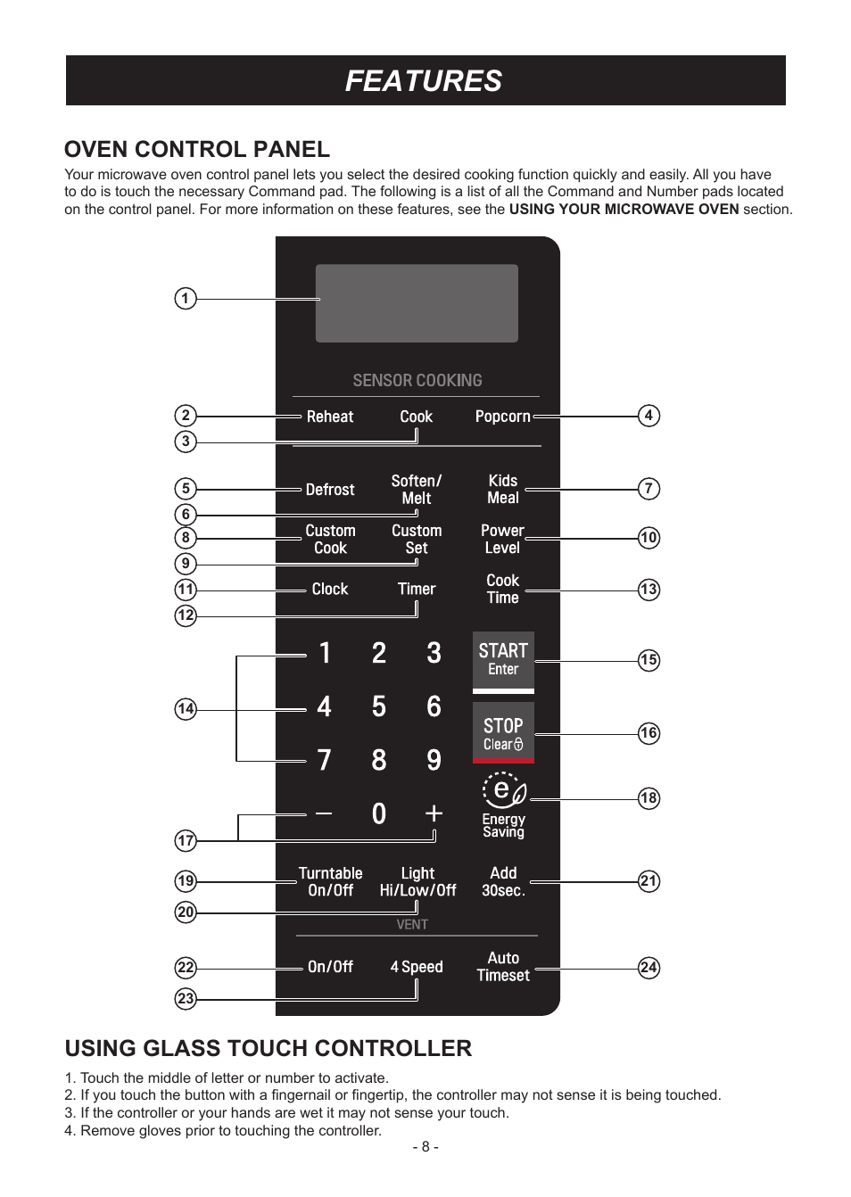 Features, Using glass touch controller, Oven control panel