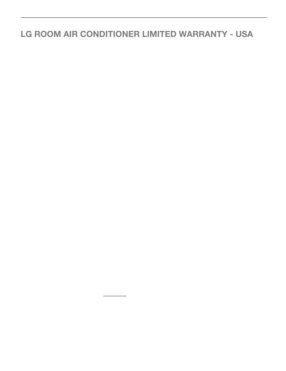 Lg room air conditioner limited warranty - usa, Warranty | LG LW5014 User  Manual |