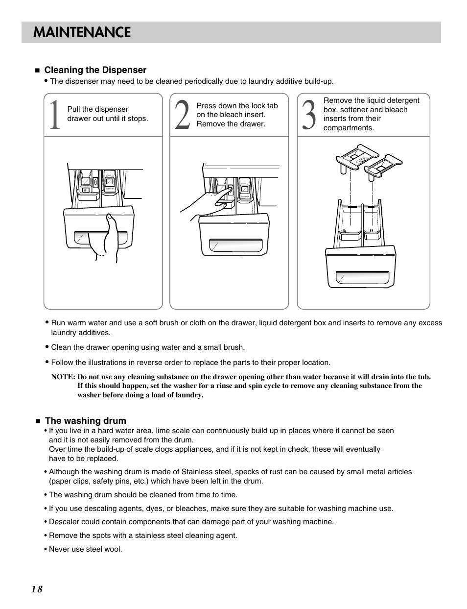 Maintenance | LG WM2016CW User Manual | Page 19 / 48