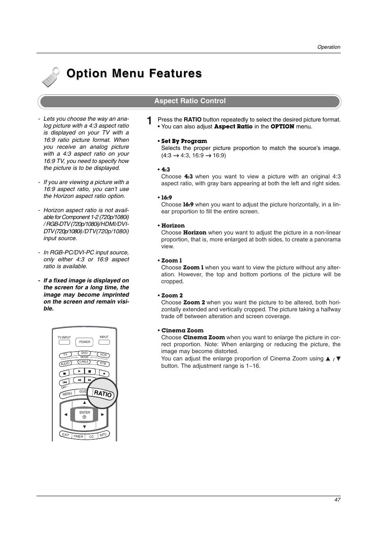 Option menu features, Aspect ratio control   LG 42LC2D User